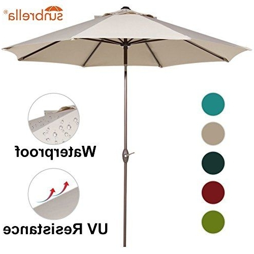 Sunbrella Patio Umbrellas With Solar Lights Regarding Most Current Abba Patio Sunbrella Patio Umbrella 9 Feet Outdoor Market Table (View 15 of 15)