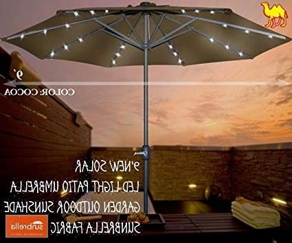 Sunbrella Patio Umbrellas With Solar Lights Regarding Well Liked Amazon : Strong Camel 9'new Solar Led Light Patio Umbrella (View 14 of 15)