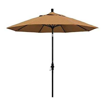Sunbrella Teak Umbrellas For Fashionable Amazon : California Umbrella 9' Round Aluminum Market Umbrella (View 6 of 15)