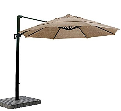 Sunbrella Teak Umbrellas In Most Recent Amazon : California Umbrella 11' Round Aluminum Cantilever (View 12 of 15)