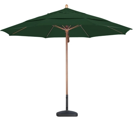 Sunbrella Teak Umbrellas Within Trendy 11' Wood Sunbrella A Patio Umbrella (View 7 of 15)