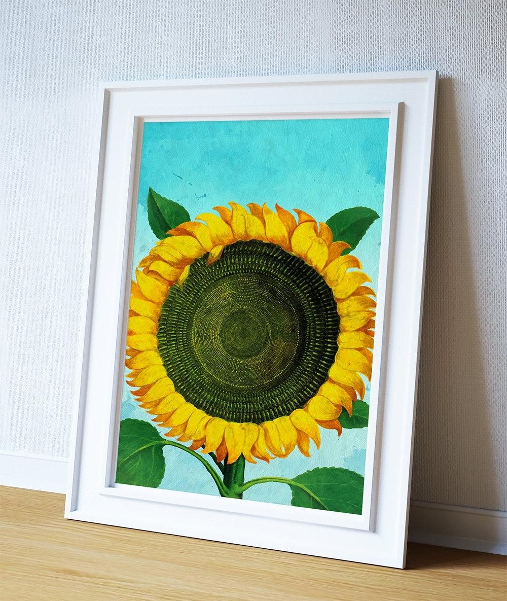 Sunflower Print Sunflowers Art Botanical Print Flower Kitchen Decor Within Newest Sunflower Wall Art (View 10 of 15)