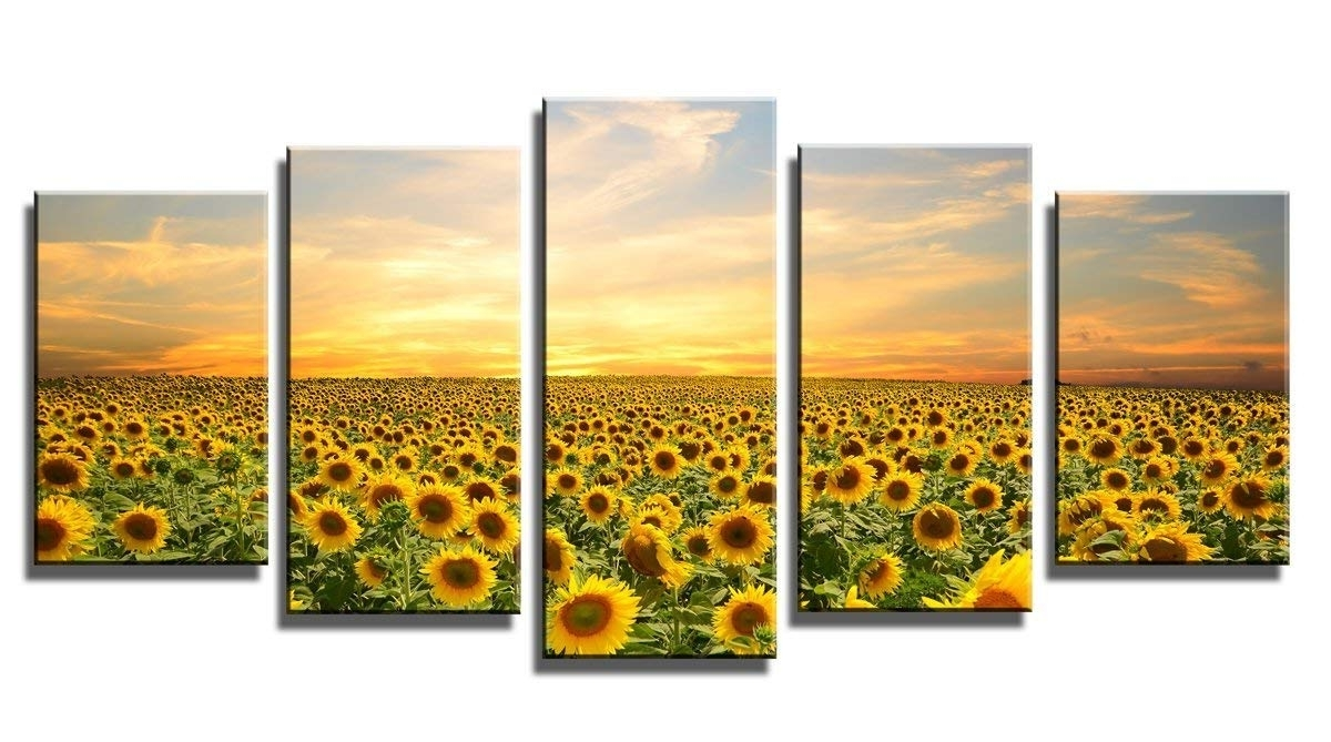 Sunflower Wall Art Throughout 2018 Amazon: Wieco Art Sunflowers Canvas Prints Wall Art Landscape (View 2 of 15)