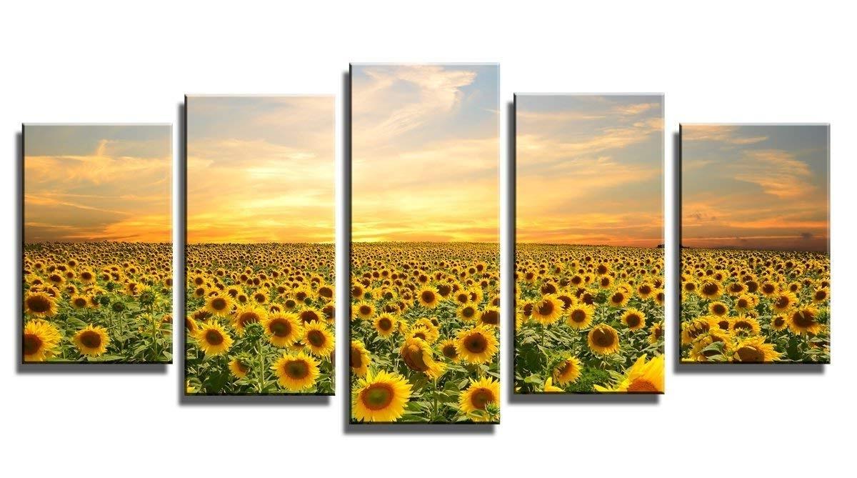 Sunflower Wall Art Throughout 2018 Amazon: Wieco Art Sunflowers Canvas Prints Wall Art Landscape (View 11 of 15)