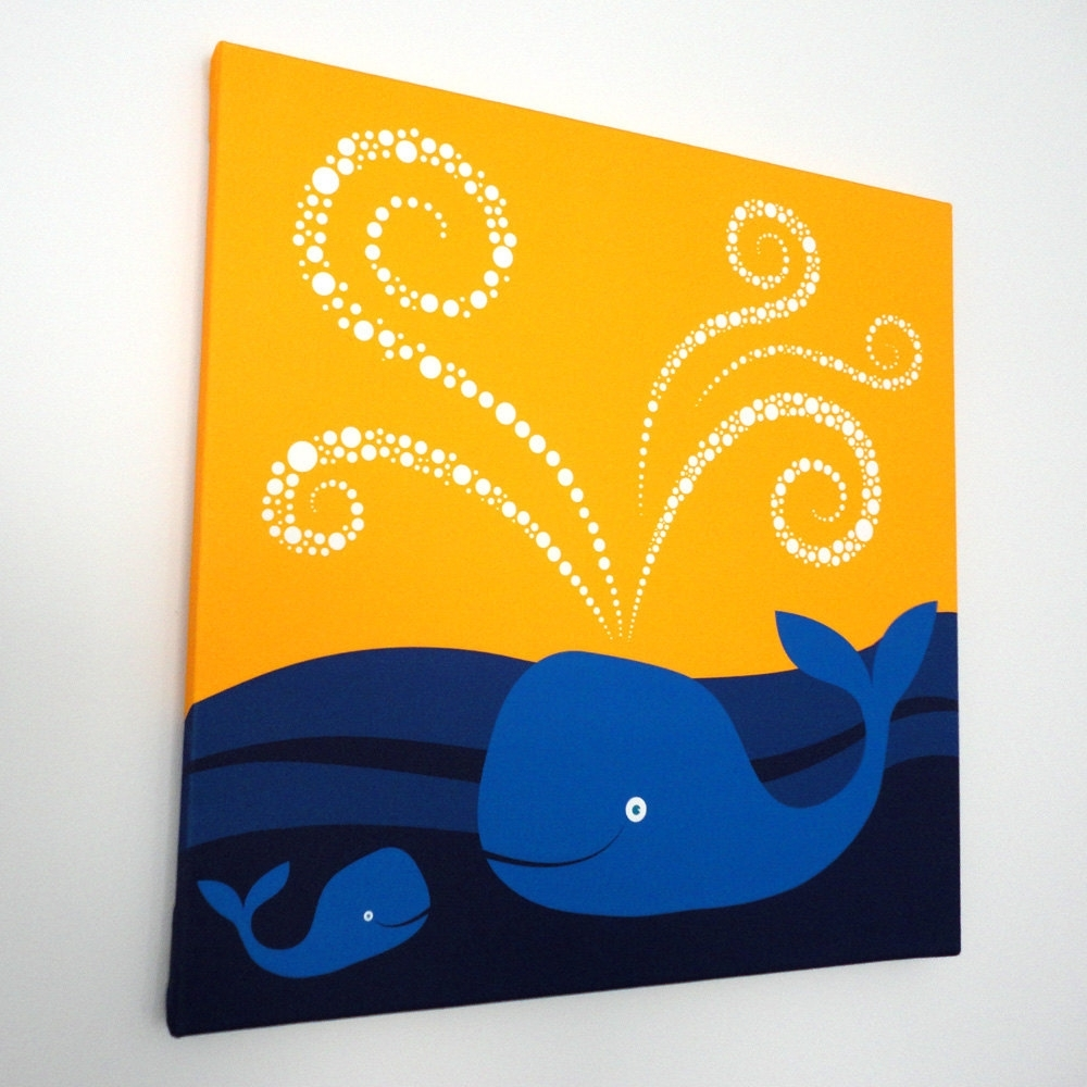 Swimming Whales Fabric Canvas Wall Art – Modern Baby Nursery Kids For Most Recently Released Whale Canvas Wall Art (View 4 of 15)