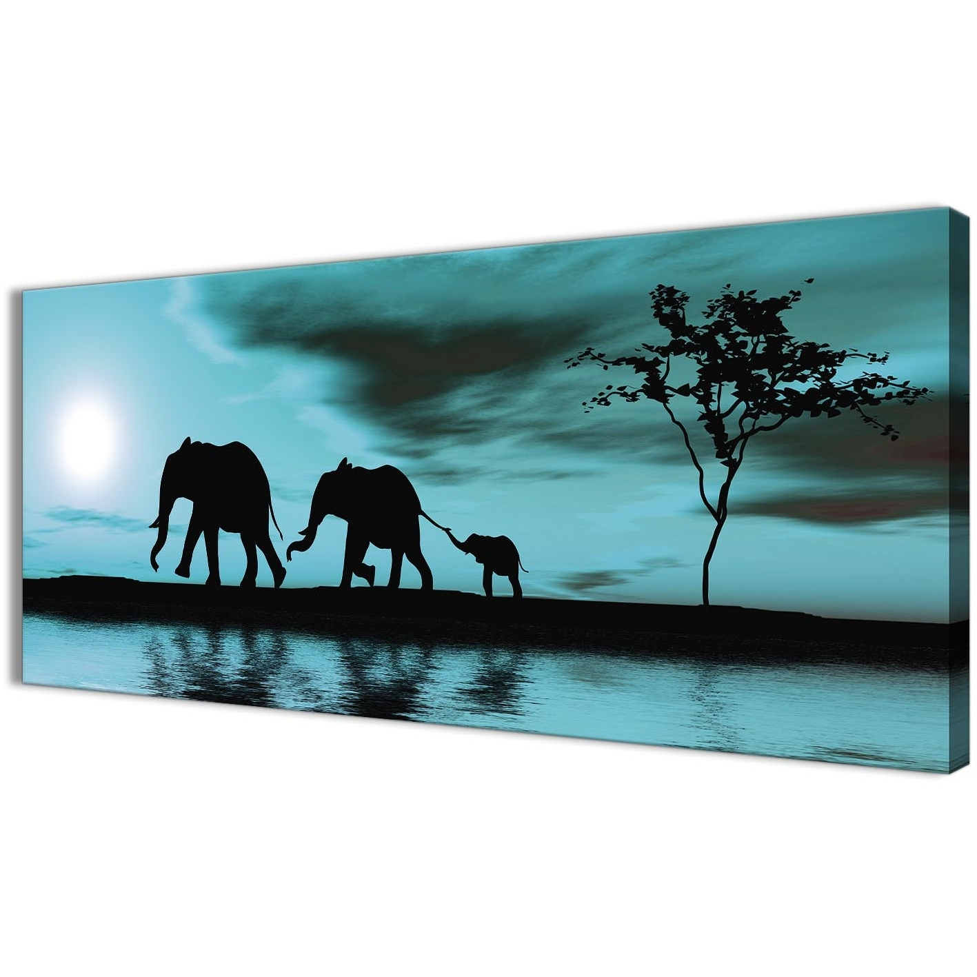 Teal African Sunset Elephants Canvas Wall Art Print – Modern 120Cm Pertaining To Favorite Teal Wall Art (View 7 of 15)