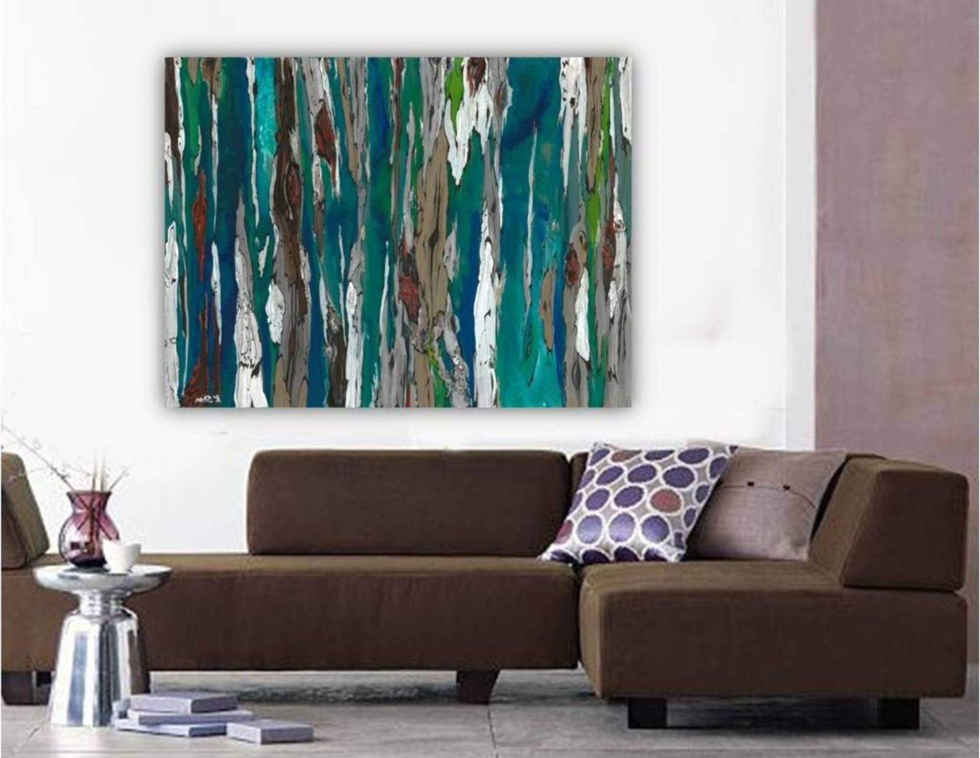 Teal And Brown Wall Art Intended For Preferred Saatchi Art: Large Contemporary Original Abstract Tree Landscape (View 8 of 15)