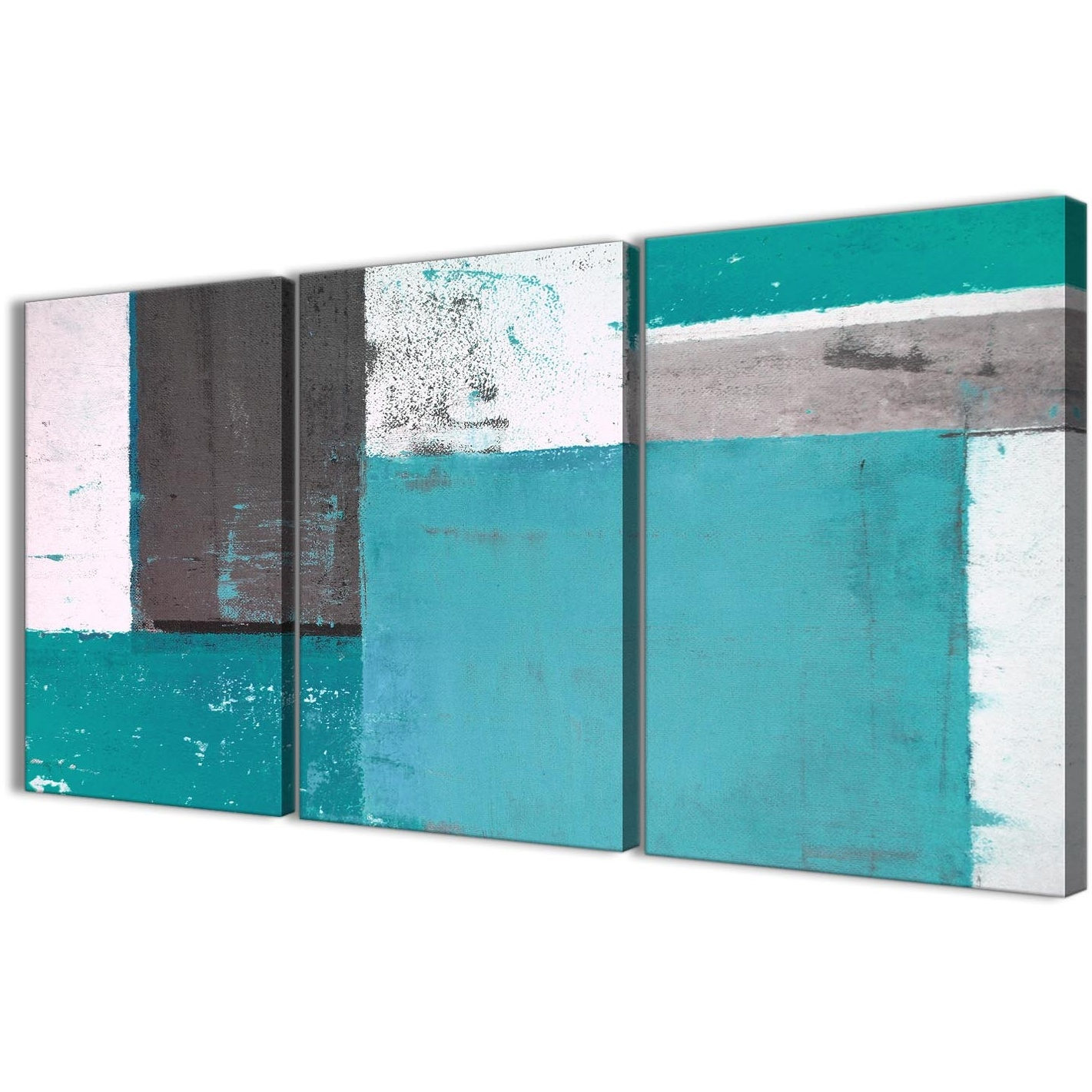 Teal Grey Abstract Painting Canvas Wall Art Multi 3 Set – 125Cm Wide Within Best And Newest Oversized Teal Canvas Wall Art (View 15 of 15)