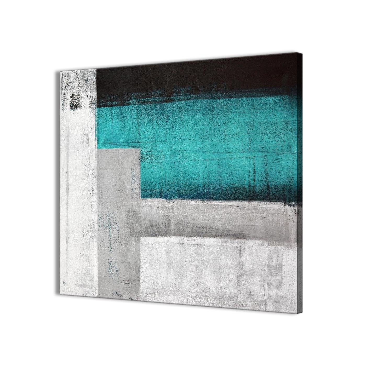 Teal Turquoise Grey Painting Bathroom Canvas Wall Art Accessories Regarding Preferred Turquoise Wall Art (View 5 of 15)