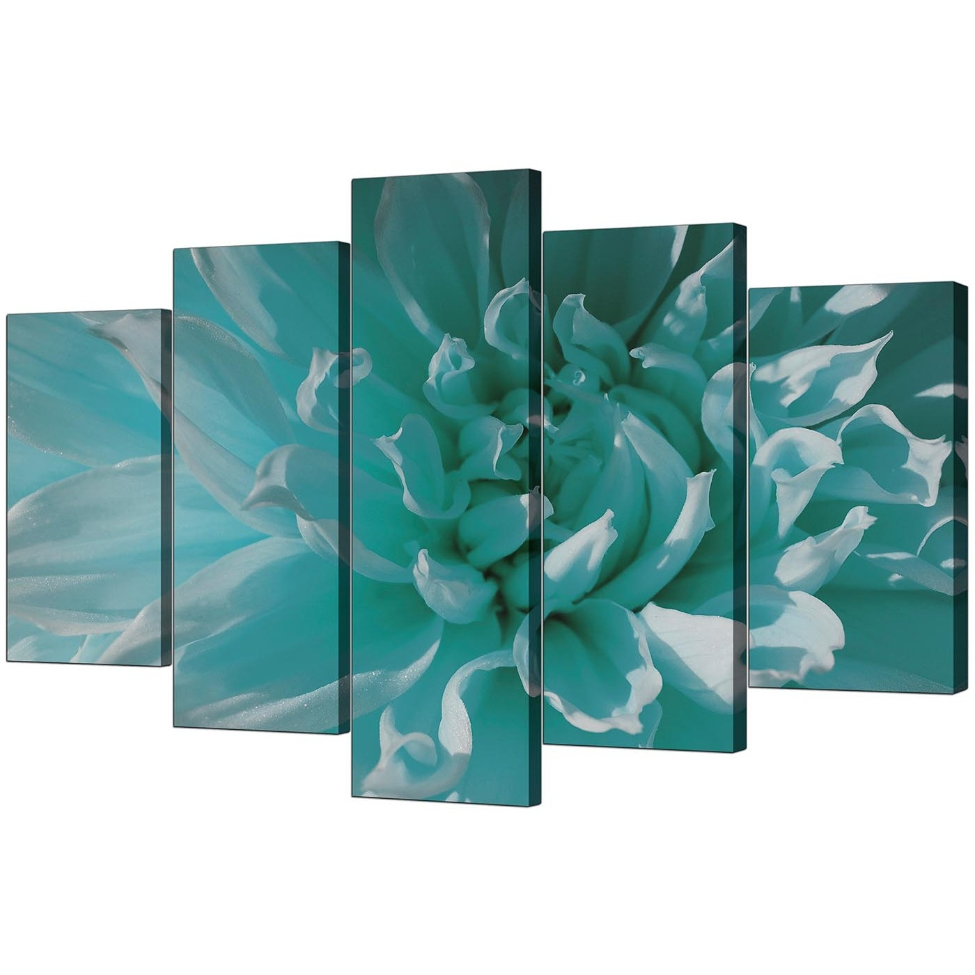Teal Wall Art In Favorite Extra Large Flower Canvas Wall Art 5 Piece In Teal (View 10 of 15)