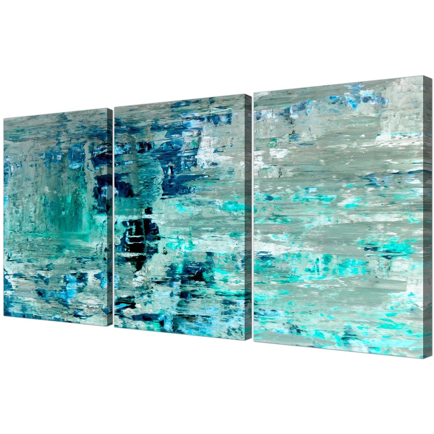 Teal Wall Art Regarding Latest Turquoise Teal Abstract Painting Wall Art Print Canvas – Multi (View 2 of 15)