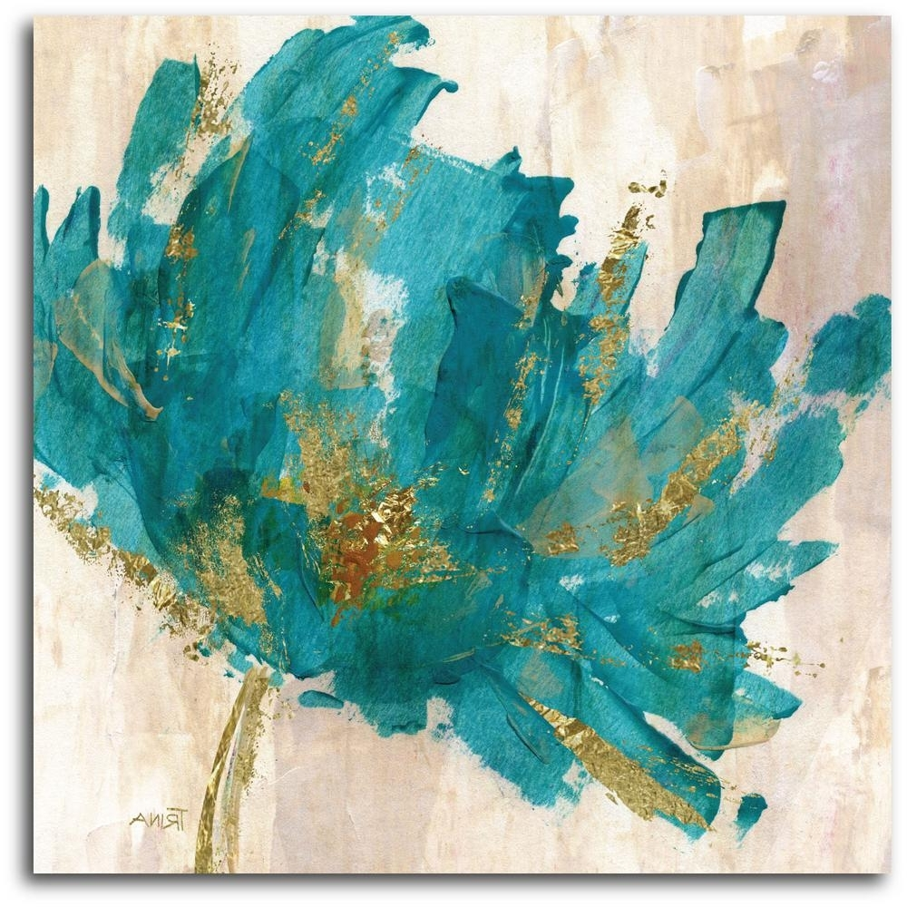 Teal Wall Art With Famous Contemporary Teal Flower Canvas Wall Art Web Ac180T – The Home Depot (View 8 of 15)