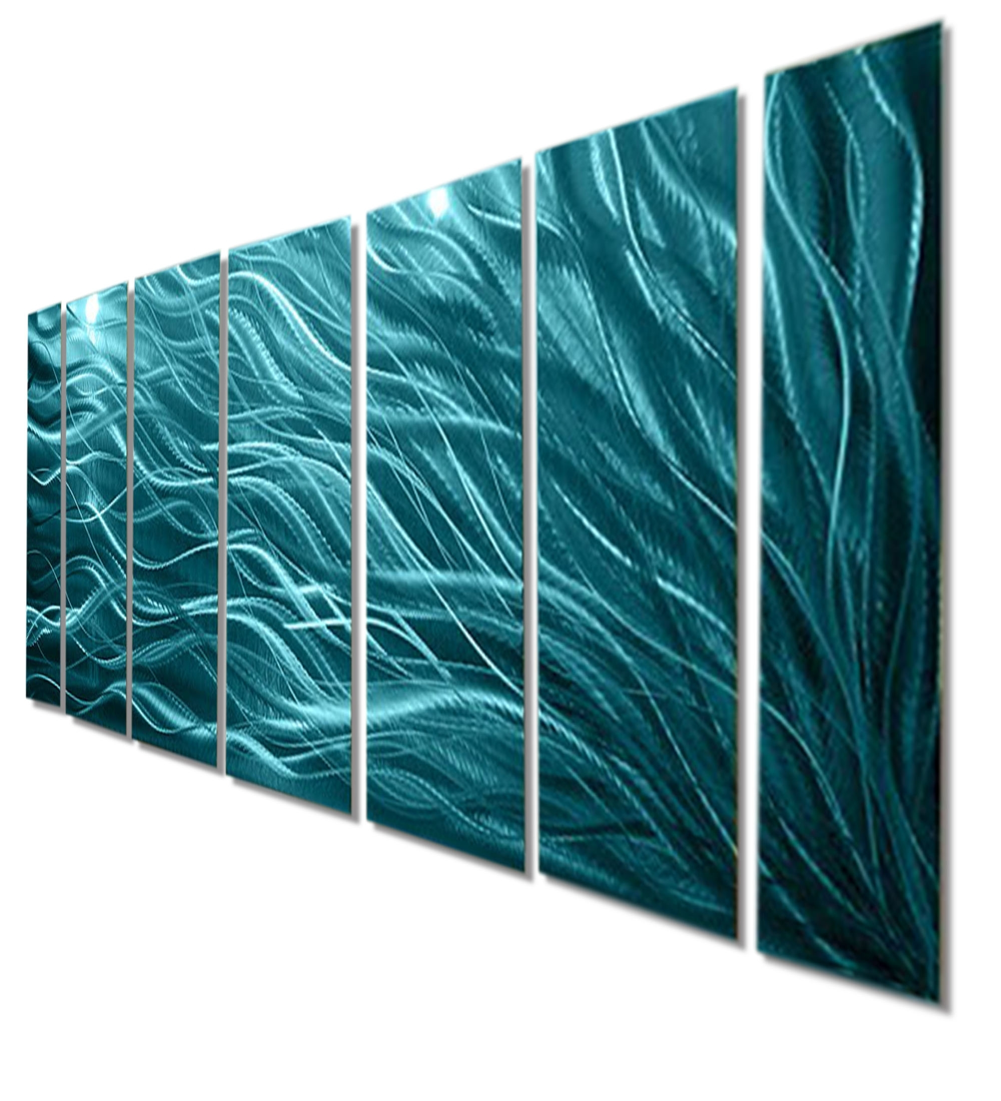 Teal Wall Art With Regard To Latest Rays Of Hope Aqua – Large Modern Abstract Metal Wall Artjon (View 6 of 15)