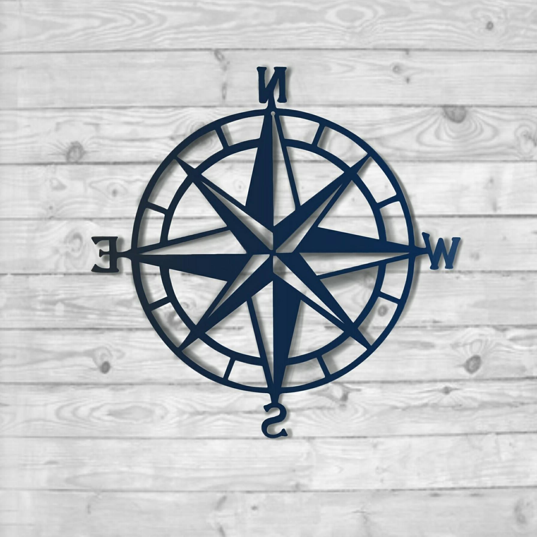 Textured Navy: Nautical Compass – Nautical Wall Art – Metal Wall Art In Current Nautical Wall Art (View 14 of 15)