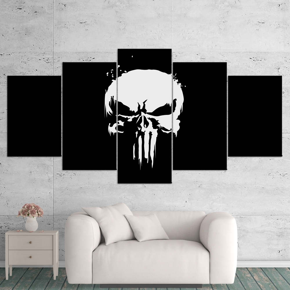 The Punisher 01 Logo 5 Piece Canvas Wall Art Gaming Canvas – Game Pertaining To Well Liked 5 Piece Wall Art (View 13 of 15)