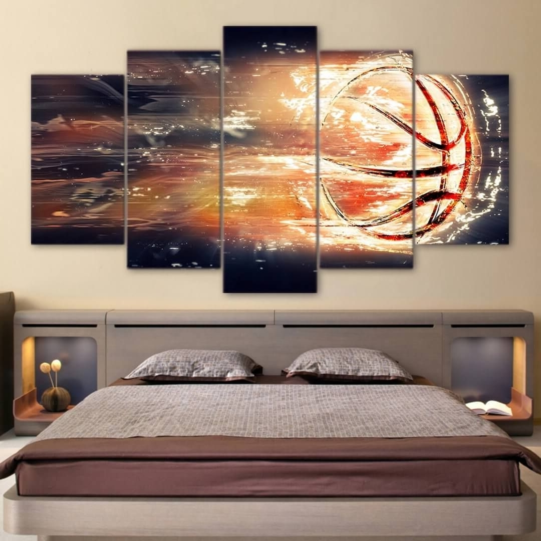 This Stunning Flaming Shot Basketball 5 Piece Canvas Print Brings In Well Known Basketball Wall Art (View 12 of 15)