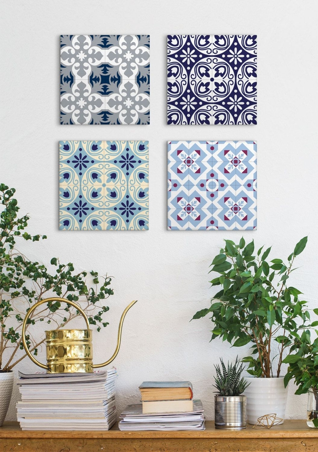 Tile Canvas Wall Art With Preferred Tile Art Canvas Set, Set Of 4 Prints, Canvas Prints, Blue Canvas Art (View 9 of 15)
