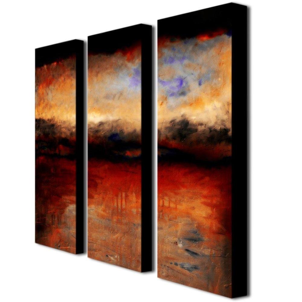 Trademark Fine Art Red Skies At Nightmichelle Calkins 3 Panel For Popular Panel Wall Art (View 11 of 15)