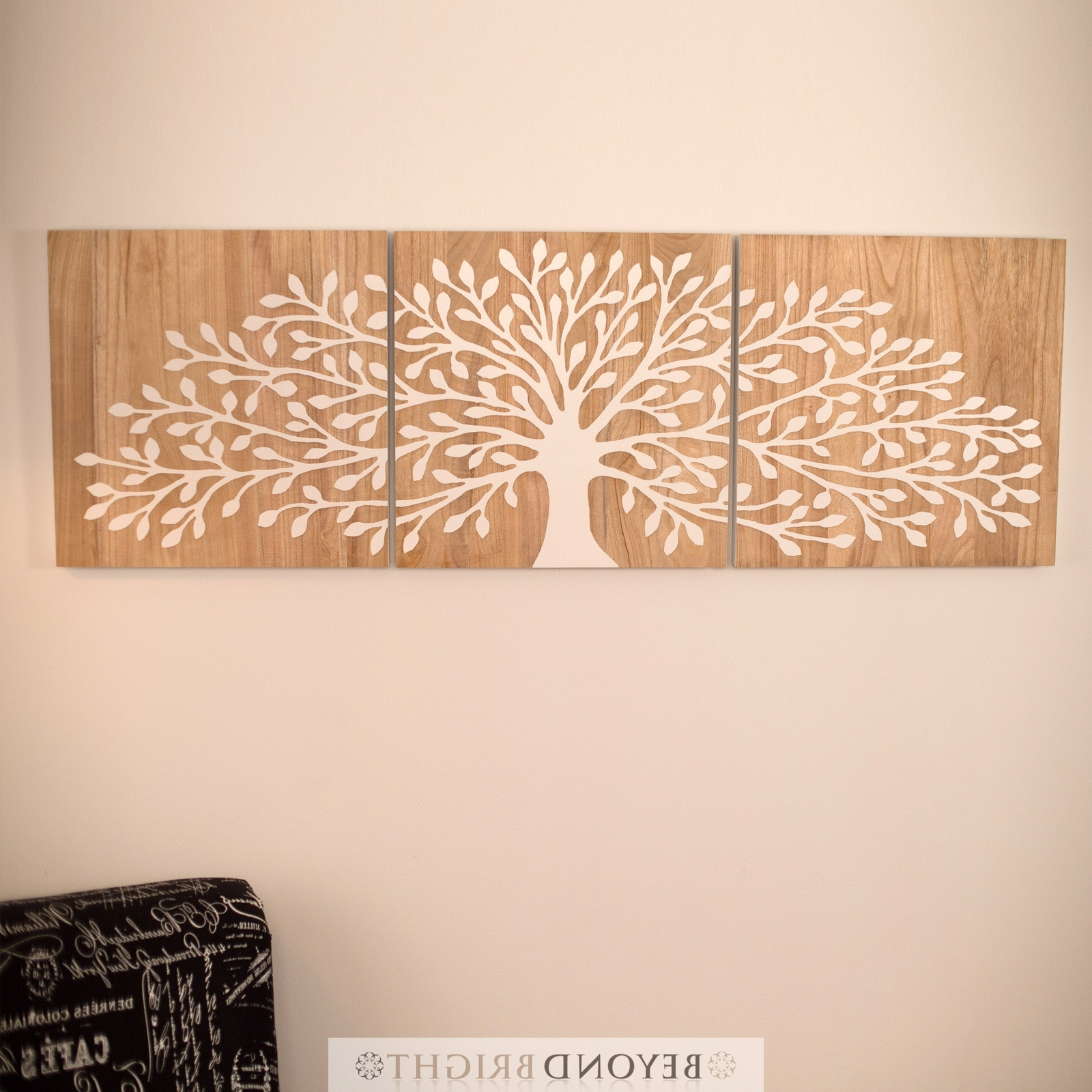 Tree Of Life 60 X 60Cm – Reverse White – 3 Panels Triptych Wall Art Pertaining To Popular Tree Of Life Wall Art (View 15 of 15)