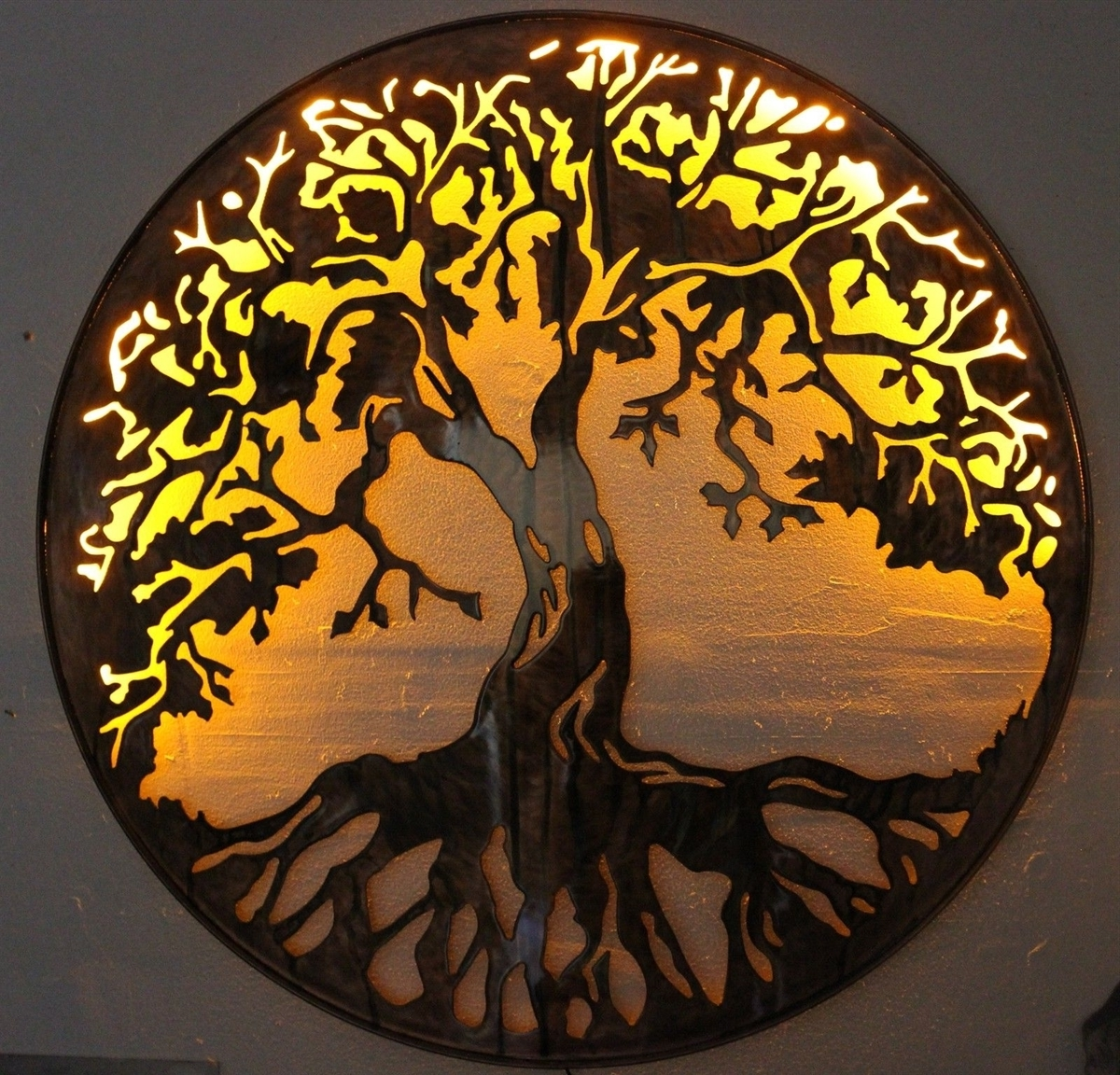 """Tree Of Life Metal Wall Art 24"""" With Led Lightshgmw With Preferred Led Wall Art (View 13 of 15)"""