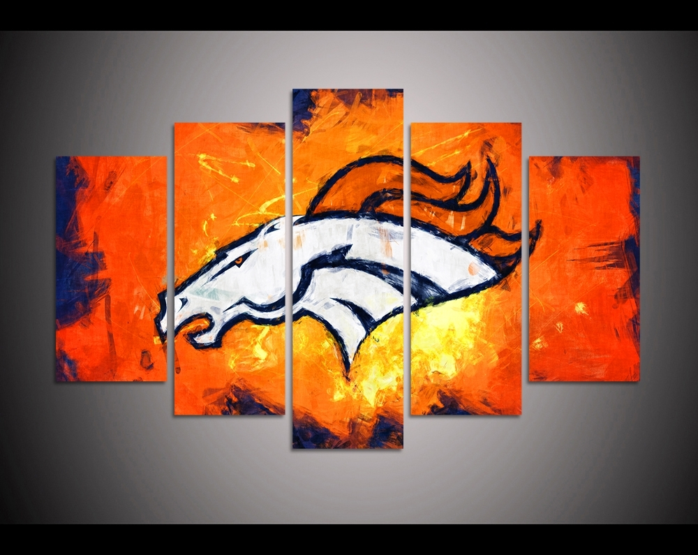 Trendy 5 Panel Hd Printed Canvas Painting Sport Denver Broncos Canvas Print Within Broncos Wall Art (View 7 of 15)
