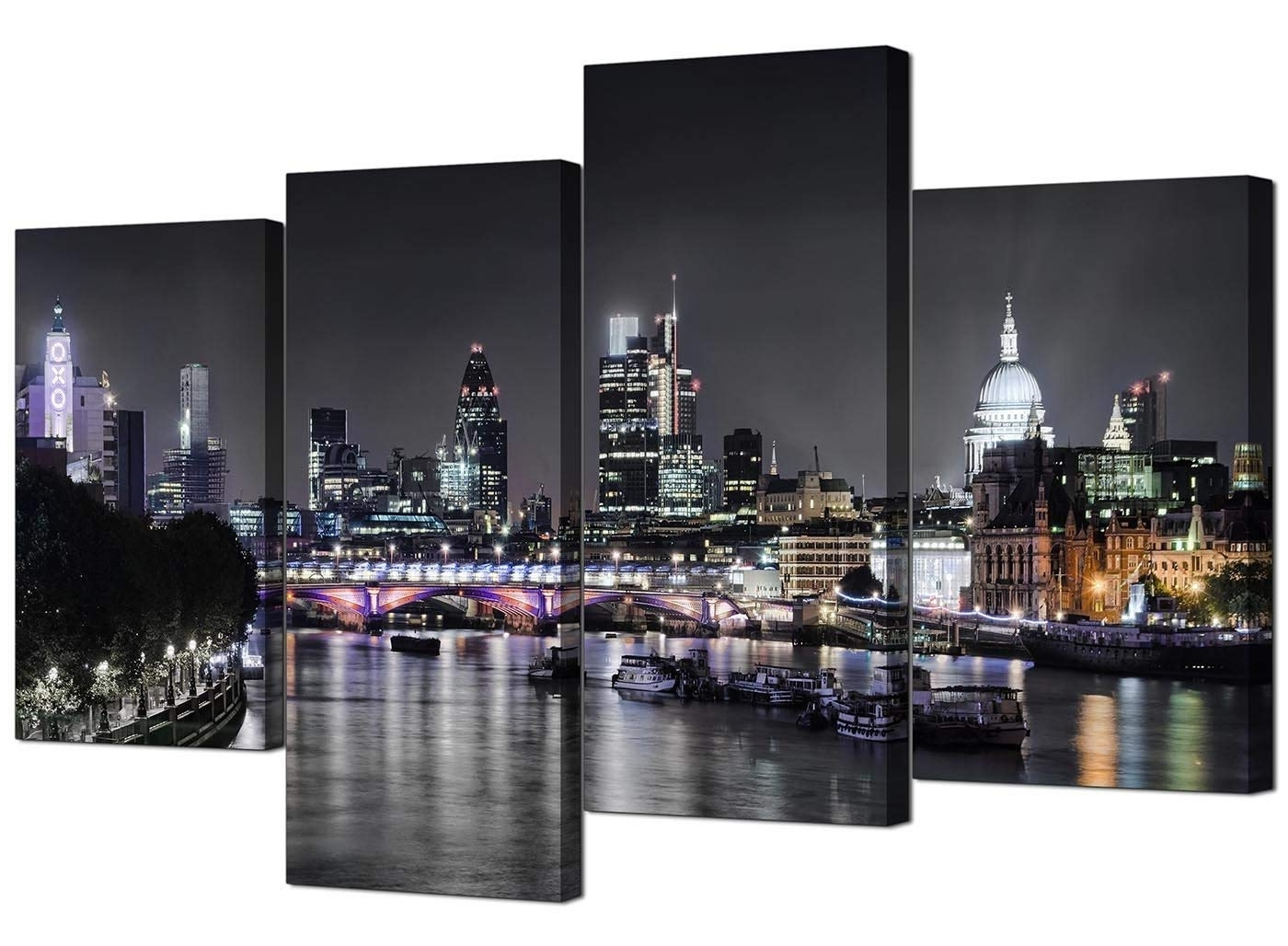 Trendy Canvas Wall Art Of London Skyline For Your Living Room – 4 Panel With Regard To London Wall Art (View 3 of 15)