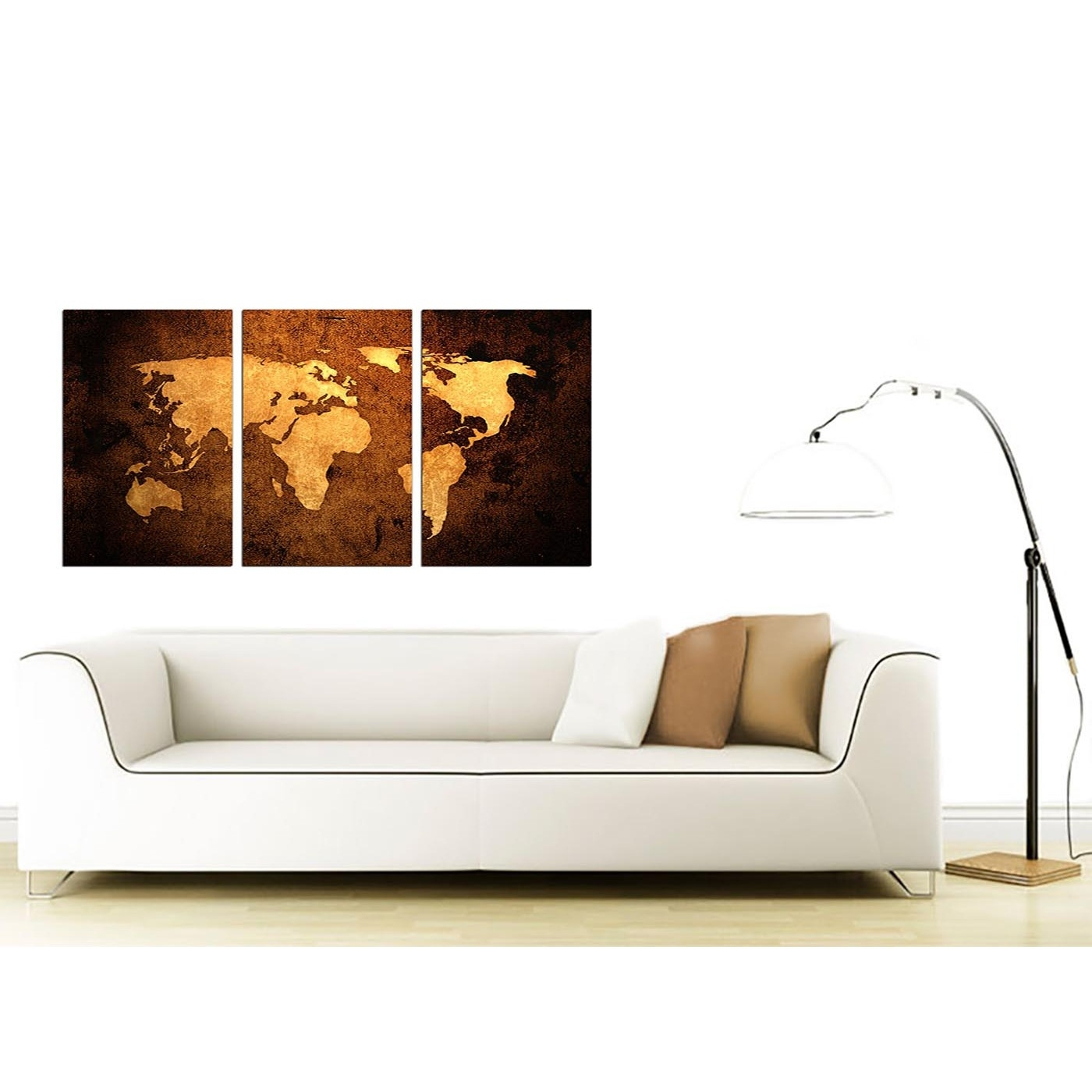 Trendy Canvas Wall Art Sets Pertaining To Vintage World Map Canvas Wall Art Set Of 3 For Your Bedroom (View 15 of 15)