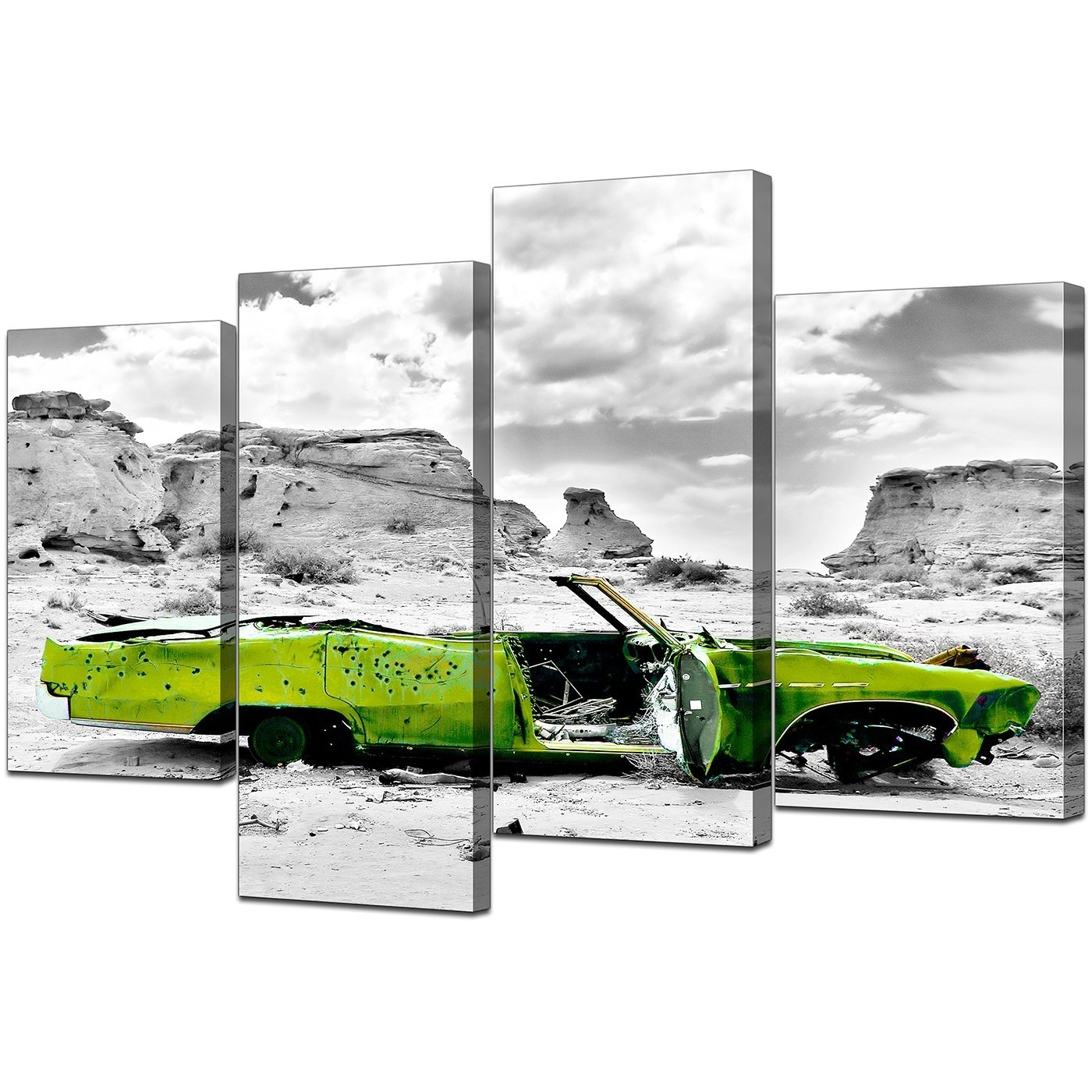 Trendy Car Canvas Wall Art Pertaining To Canvas Art Of Green Car In Black & White For Your Office (View 4 of 15)