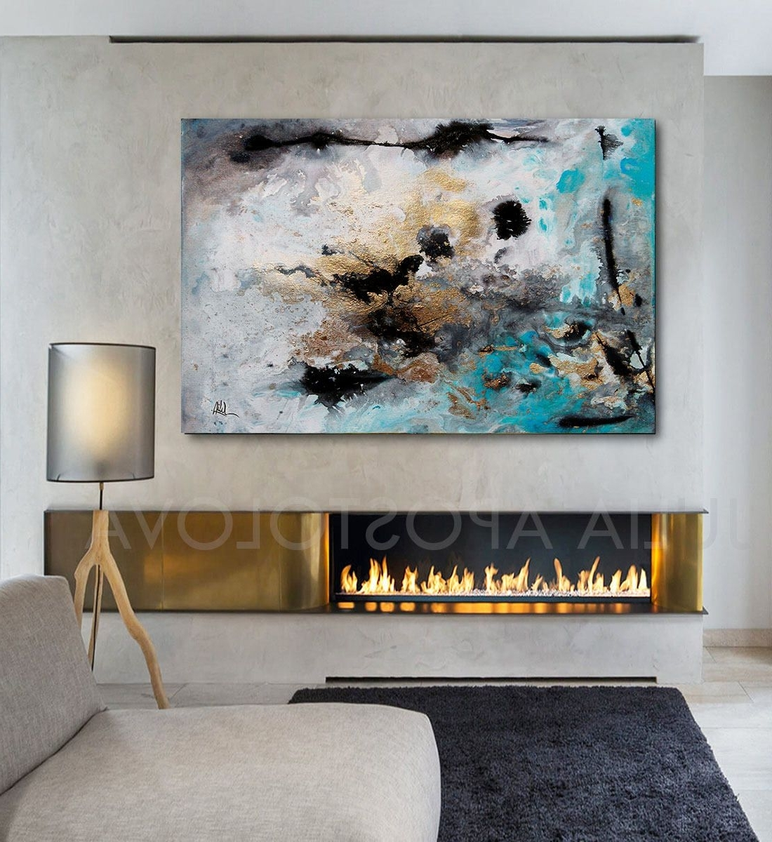 Trendy Contemporary Wall Art Intended For 48Inch, Turquoise Gold Black, Abstract Print, Large Wall Art (View 2 of 15)