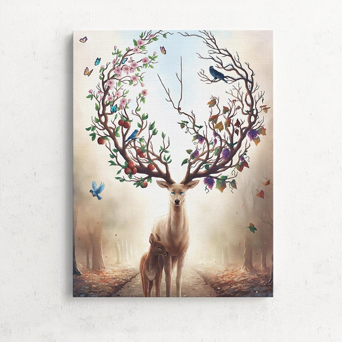 Trendy Deer Canvas Wall Art Throughout Unframed Canvas Print Deer Design Modern Home Decor Wall Art (View 12 of 15)