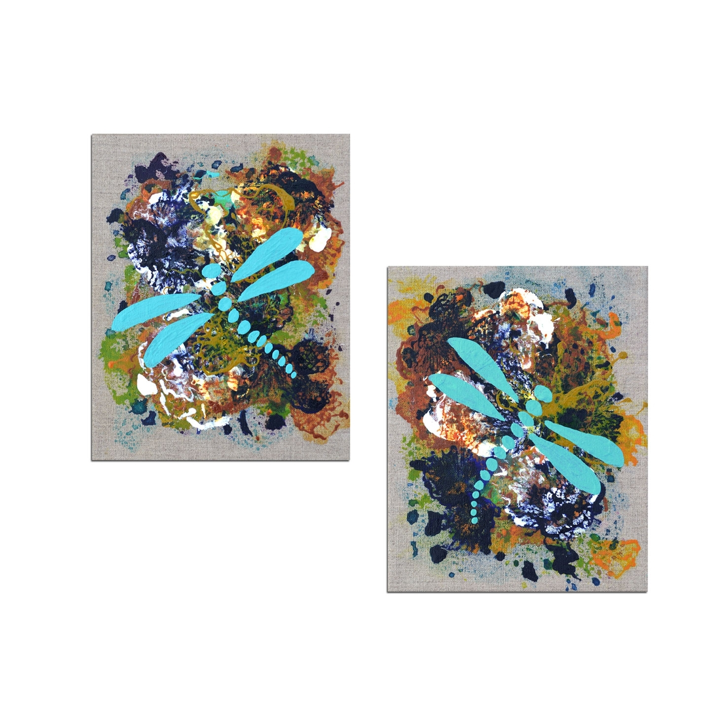 Trendy Dragonfly Painting Wall Art Inside Home Decor Art: The Versatility Of Diptych Paintings (View 15 of 15)