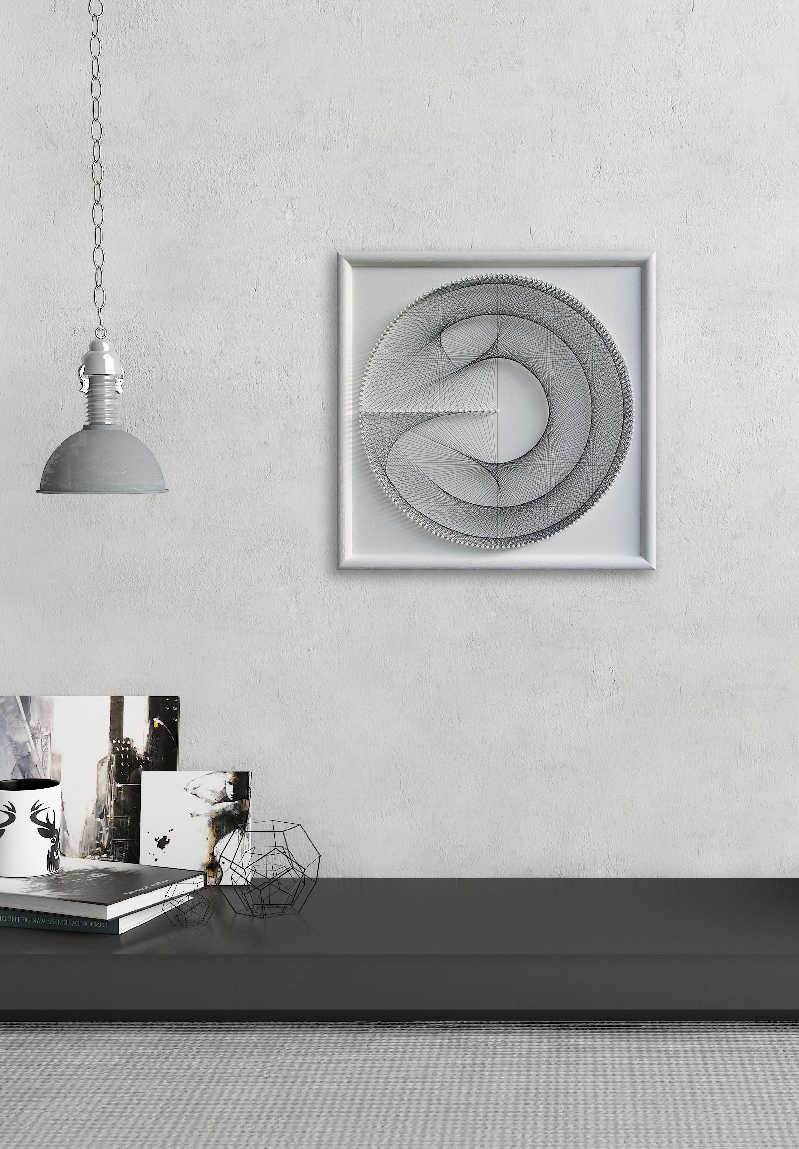 Trendy Elegant Geometric String Art – Gift For Her – White Wall Art Zen Inside White Wall Art (View 13 of 15)