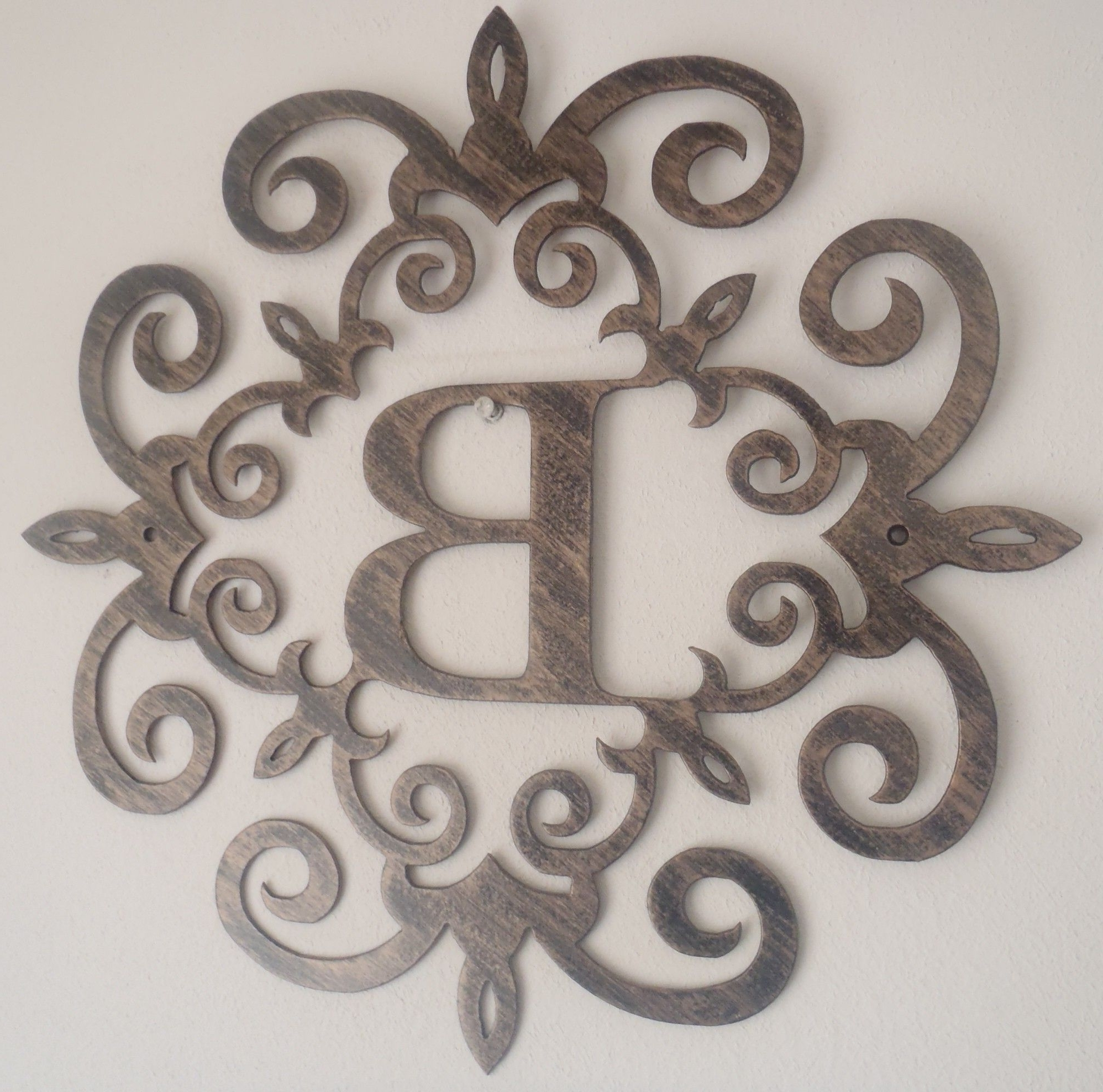 Trendy Family Initial, Monogram Inside A Metal Scroll With B Letter, Wall With Regard To Metal Letter Wall Art (View 2 of 15)