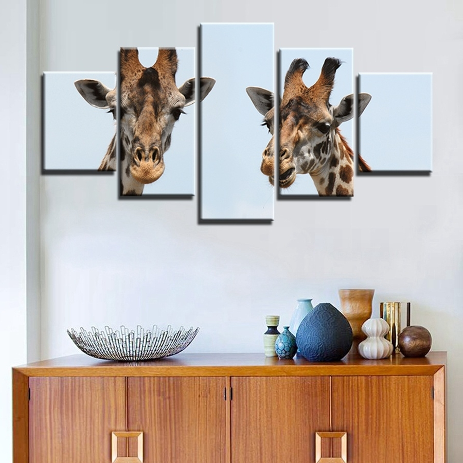 Trendy Giraffe Canvas Wall Art Decor Giclee Prints 5 Panels Painting Modern Regarding Giraffe Canvas Wall Art (View 13 of 15)