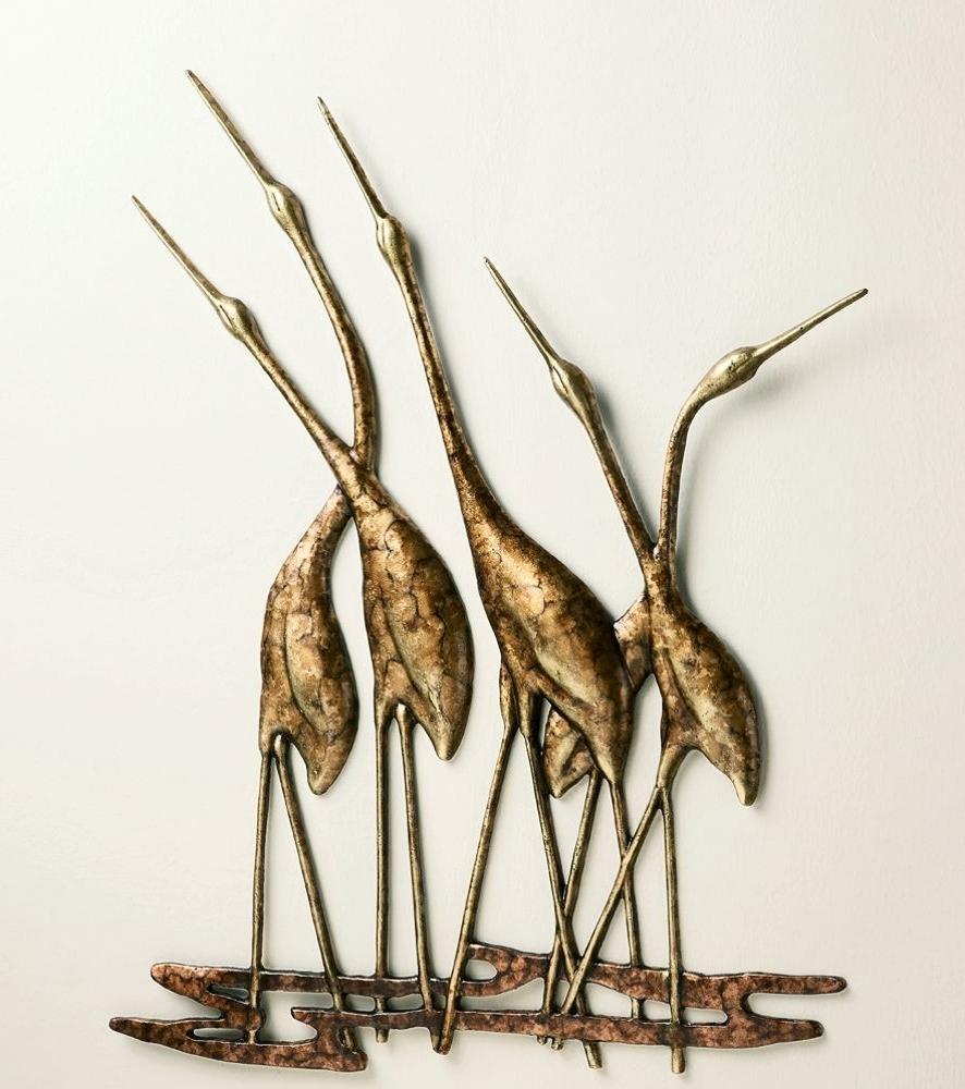 Trendy Gold Metal Wall Art Inside Crane Quintet Wall Art Sculpture Metal Heron Bird Gold & Bronze (View 13 of 15)