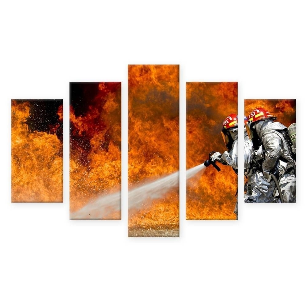 Trendy Hd Posters Frame Living Room Wall Art Print 5 Panel Firefighter Fire With Firefighter Wall Art (View 6 of 15)