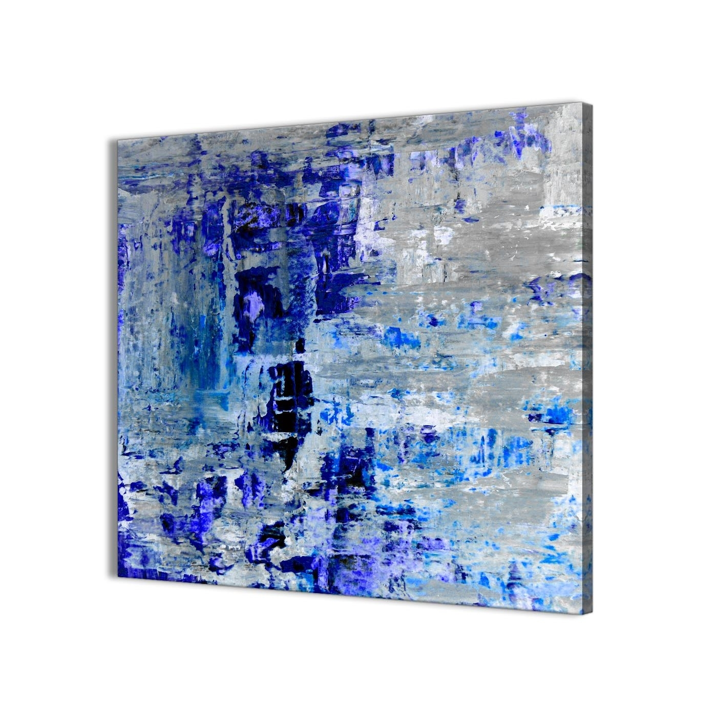 Trendy Indigo Blue Grey Abstract Painting Wall Art Print Canvas – Modern With Regard To Modern Abstract Painting Wall Art (View 14 of 15)