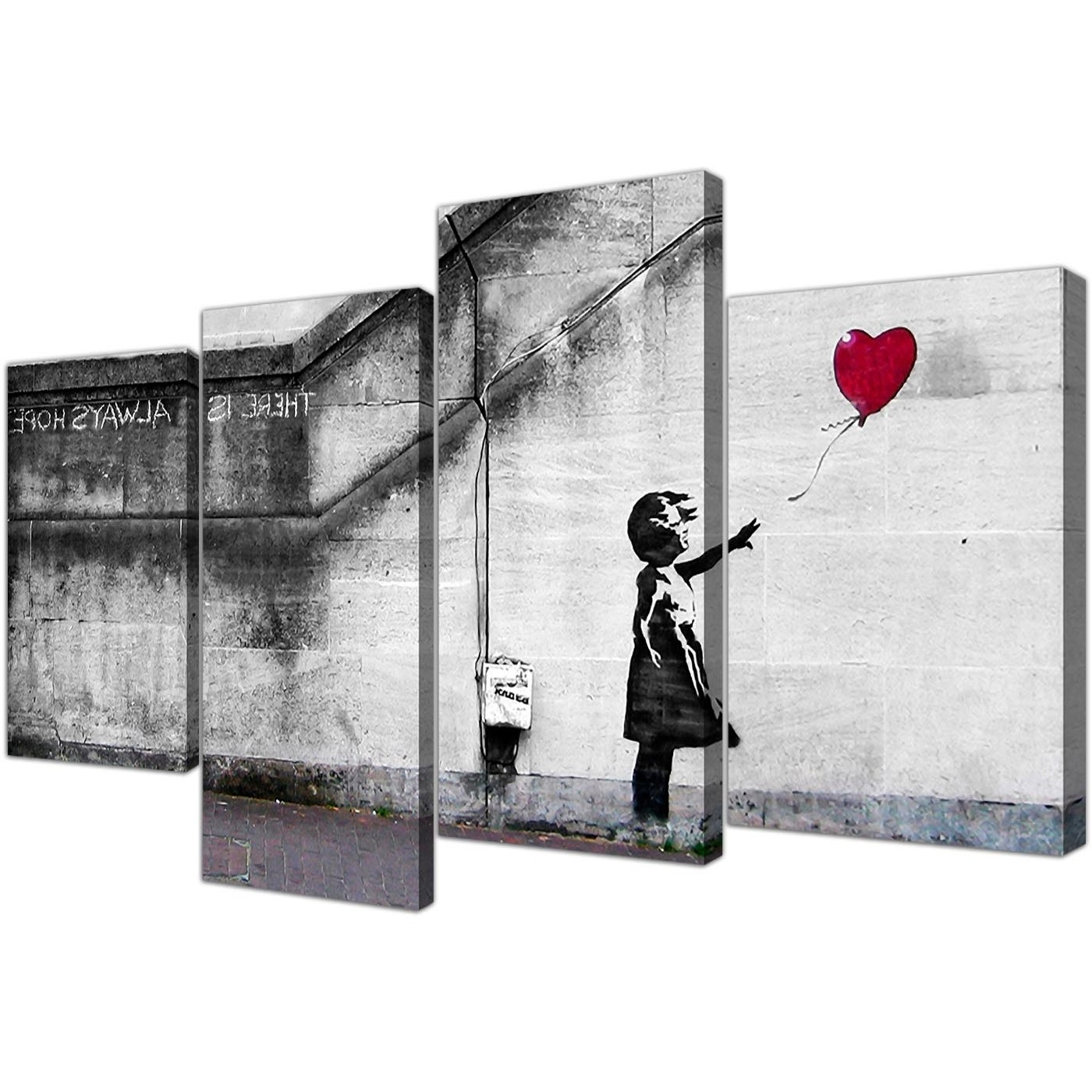 Trendy Large Banksy Canvas Prints – Balloon Girl Red Intended For Red Canvas Wall Art (View 7 of 15)
