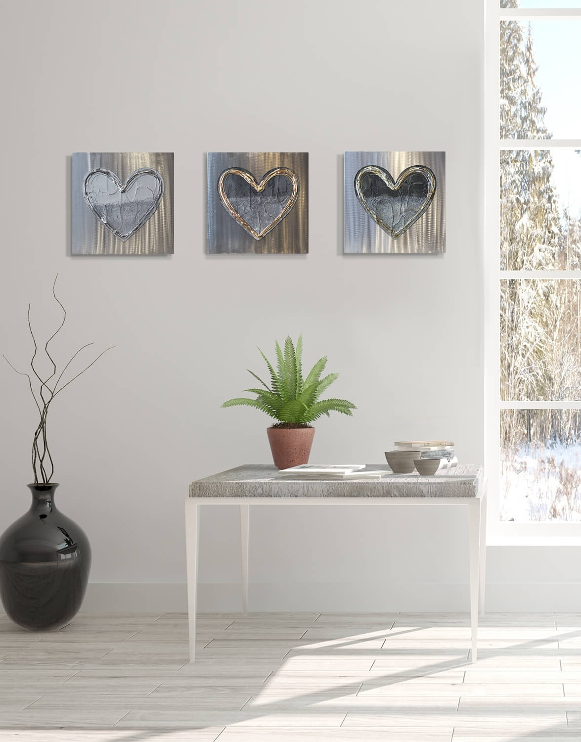 Trendy Love Heart Brass Fusion – Silver Wall Art, Contemporary Art Uk Throughout Silver Wall Art (View 3 of 15)