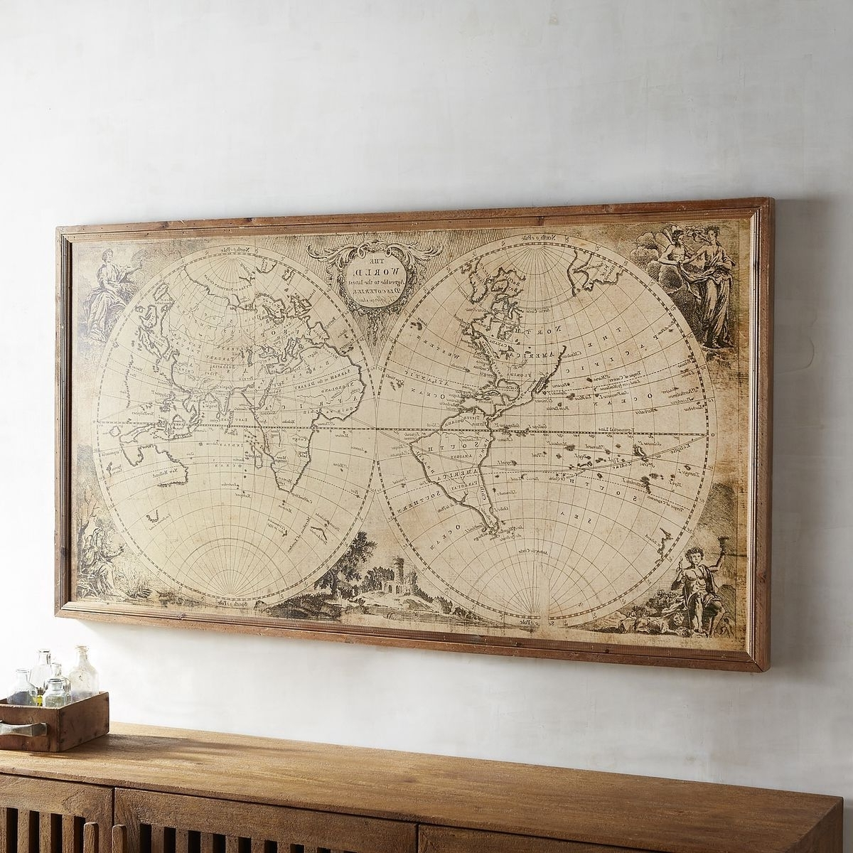 Trendy Map Wall Art With Regard To Wood Pier Framed Wall Art Pier 1 Imports Vintage Style World Map (View 7 of 15)