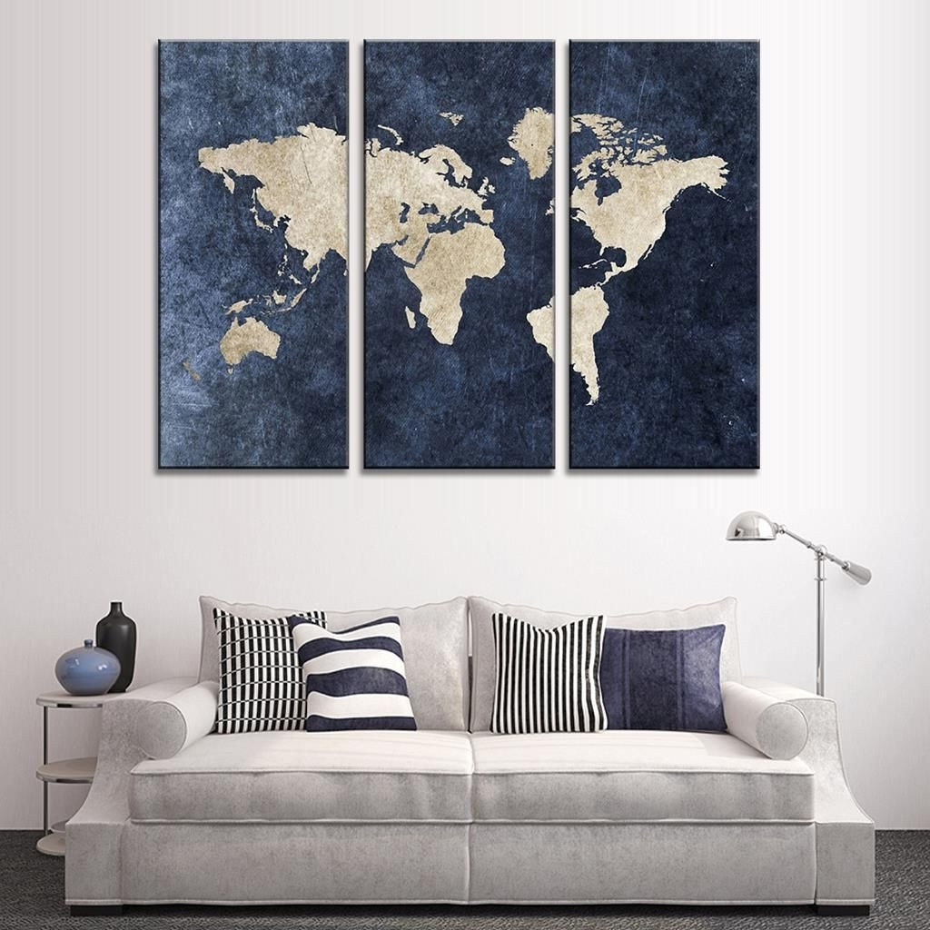 Trendy New 3 Pcs Set Abstract Navy Blue World Map Canvas Painting Modern Pertaining To Navy Blue Wall Art (View 9 of 15)