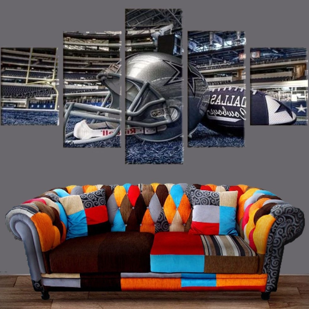 Trendy Nfl Wall Art For Dallas Cowboys Stadium Canvas Prints 5Pcs Painting Wall Art Sport (View 13 of 15)