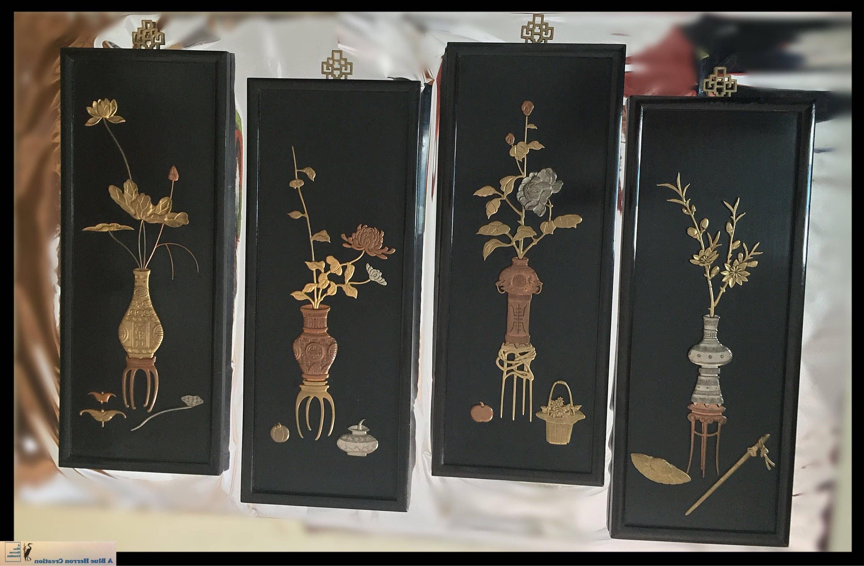 Trendy Oriental Wall Art In Vintage Oriental Panels, 3D Brass/copper/silver Wall Art Screens,  (View 2 of 15)