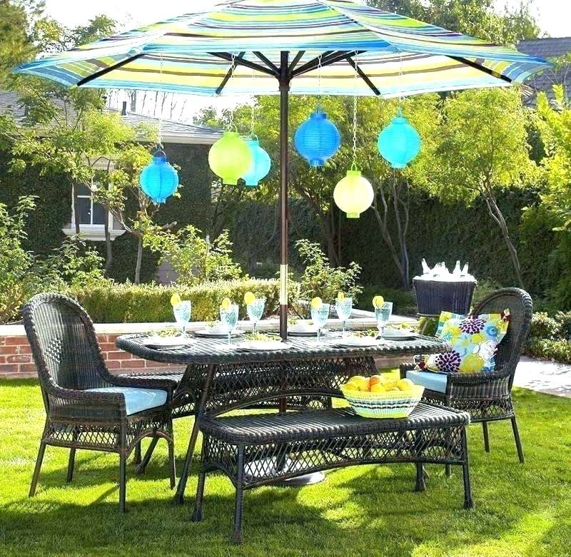 Trendy Patio Table Sets With Umbrellas With Regard To Patio Dining Sets With Umbrella Elite 7 Piece Wicker Outdoor Dining (View 14 of 15)
