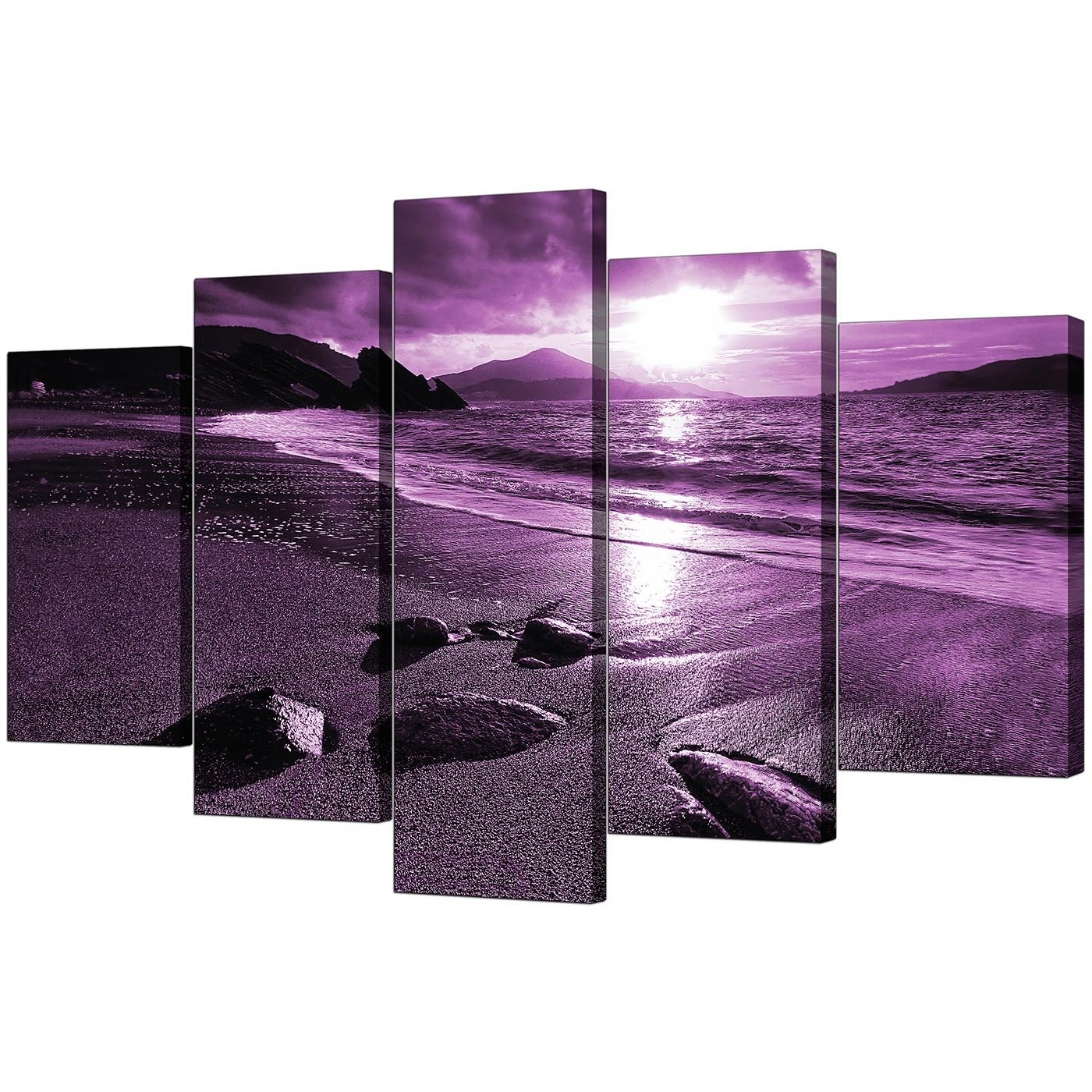 Trendy Purple Wall Art Inside Extra Large Sunset Canvas Art 5 Part In Purple (View 7 of 15)