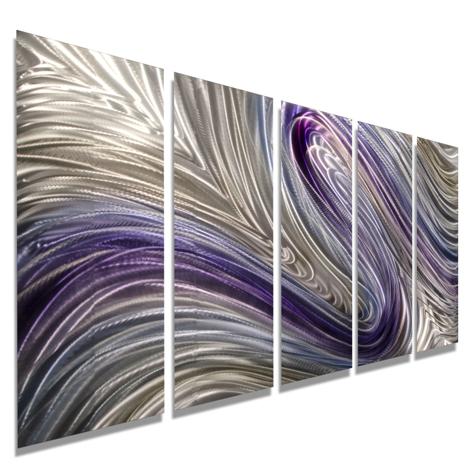 Trendy Purple Wall Art Pertaining To Reverie – Purple, Silver And Gold Metal Wall Art – 5 Panel Wall (View 12 of 15)