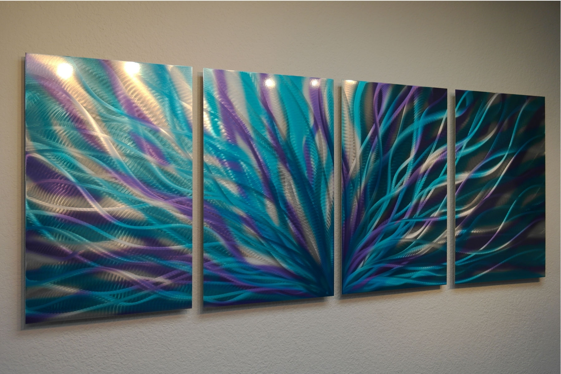 Trendy Radiance Blue Purple – Abstract Metal Wall Art Contemporary Modern Within Teal Wall Art (View 5 of 15)