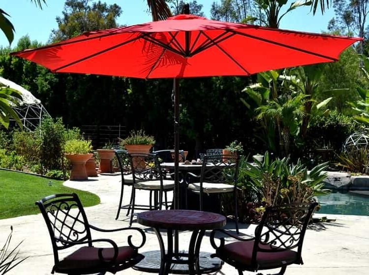 Trendy Red Patio Umbrellas For Offset Hanging Patio Umbrella 10' Adjustable Backyard (View 3 of 15)