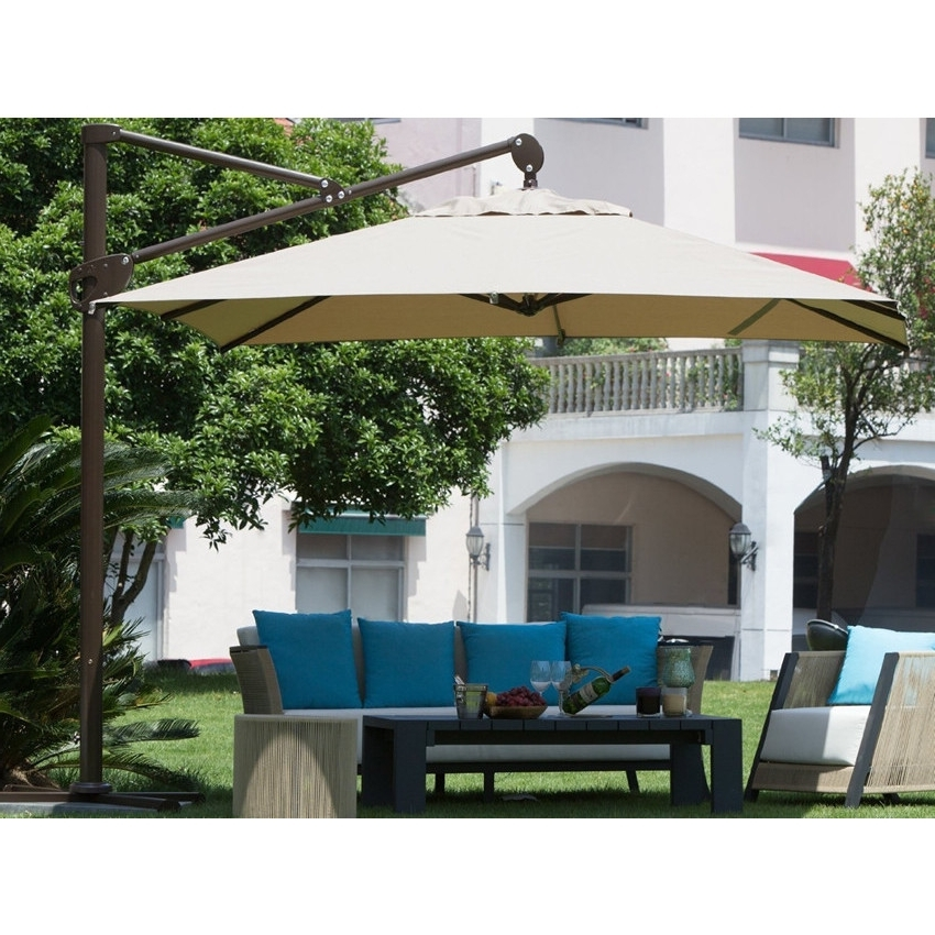 Trendy Shop Abba Patio 10 Foot Square Tan Offset Cantilever Vertical Tilt With Offset Cantilever Patio Umbrellas (View 11 of 15)
