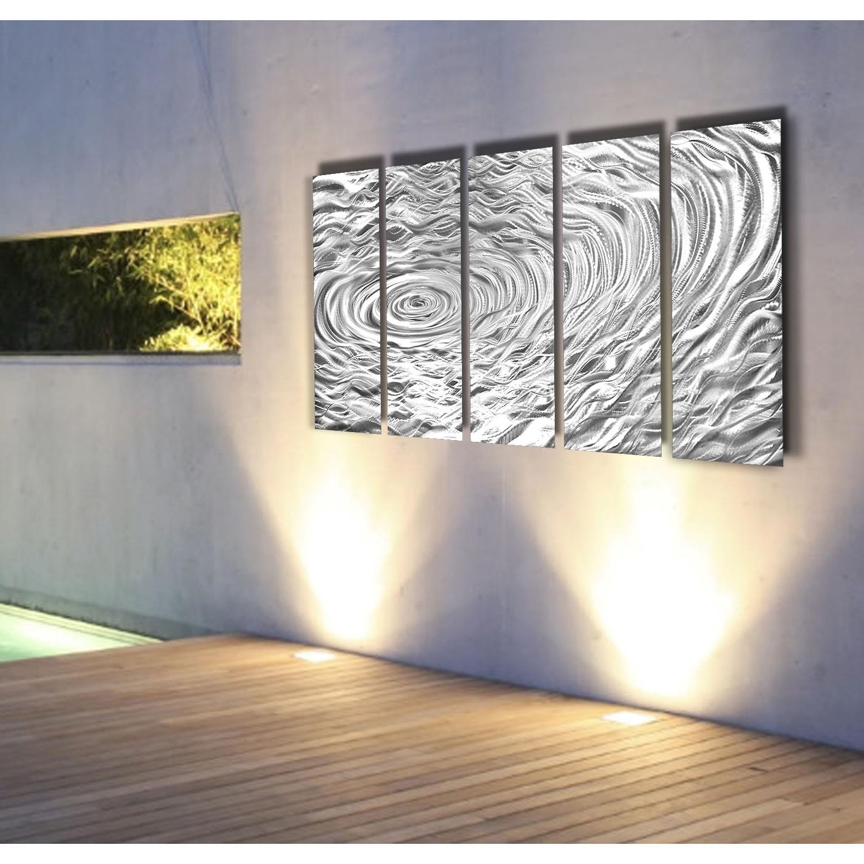 Trendy Silver Swell – Silver Metal Wall Art – 5 Panel Wall Décorjon Inside Panel Wall Art (View 12 of 15)